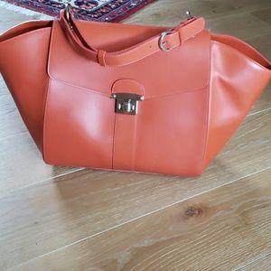 Alberta Di Canio orange leather huge tote